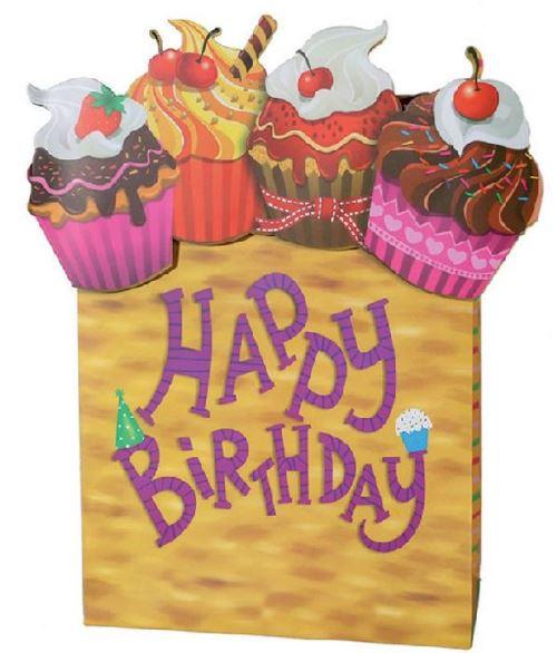Sac cadeau anniversaire jaune en papier 26 x 10 x 32 cm