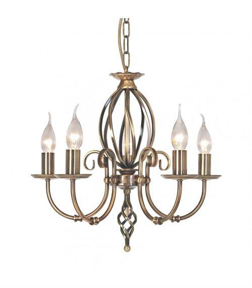 Suspension Artisan, laiton antique, 5 ampoules