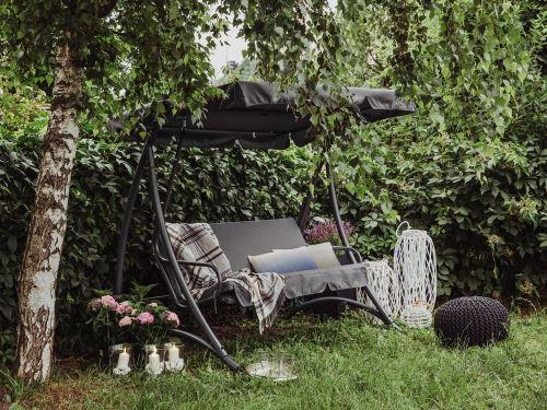 Beliani - Balancelle de jardin - balancelle en métal et tissu gris foncé - Temple