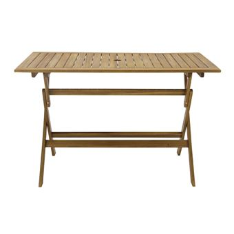 Table de jardin rectangulaire 120x70cm Pliante en acacia FSC LAEMIS marron