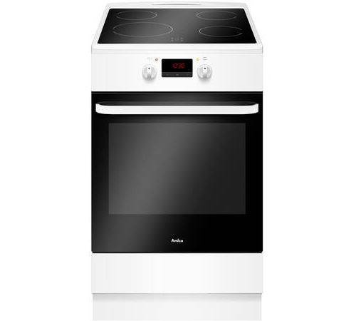 Amica ACI605B - Cuisinière - pose libre - largeur : 50 cm - profondeur : 60 cm - hauteur : 85 cm - avec système auto-nettoyant - classe A - blanc