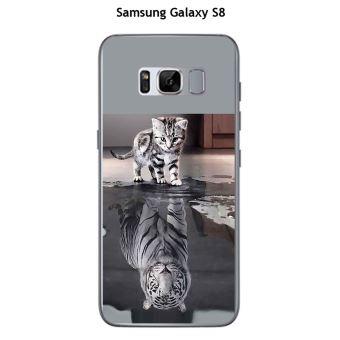 Coque Samsung Galaxy S8 design Chat Tigre Blanc
