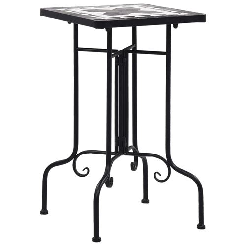 vidaXL Tables d'appoint mosaïque Noir et blanc Céramique