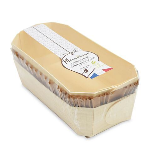 2 moules à cake 24 cm en bois + 4 caissettes sulfurisées de cuisson - Mirontaine