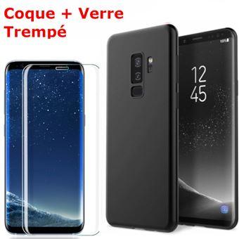 Coque Souple Silicone Pour Samsung Galaxy S9 Noir Verre Trempé Anti chocs et Rayures Vitre de Protection