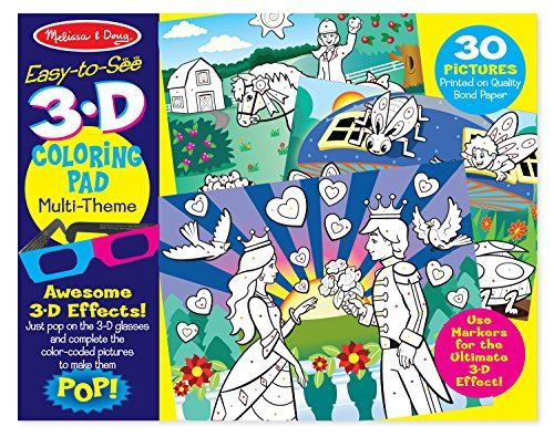 Melissa Doug Easy-to-See 3-D Kids Coloring Pad - Princesses, Fairies, Horses, and More