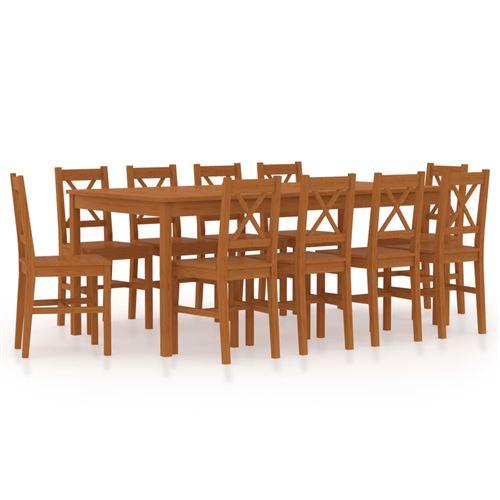 vidaXL Ensemble de salle à manger 11 pcs Pinède Marron miel