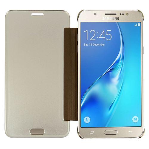 Etui Folio Effet Miroir Or Samsung Galaxy J7 2016 - Clapet Translucide