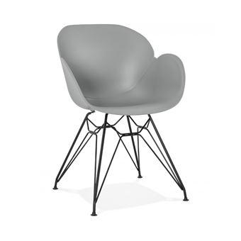Chaise Design Umela Grise Style Industriel Avec Pieds En Mtal Noir