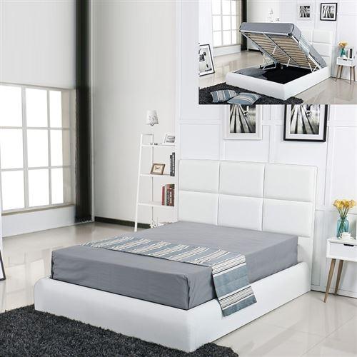 Lit coffre design Alves - Blanc - 160x200