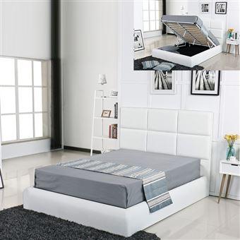 Lit Coffre Design Alves Blanc 160x200