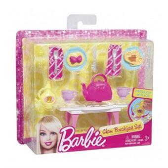 mattel set table de cuisine et accessoires maison barbie accessoire poup e achat prix fnac