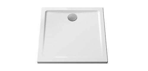 Receveur à poser ou à encastrer CASCADE ultra-plat - Dimensions : 80 x 80 cm - Couleur : BLANC - Vitrifié 3 faces