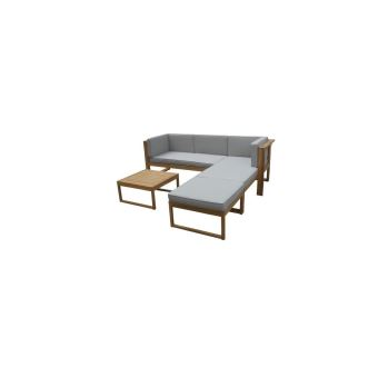 Ezeis salon bas en acacia - 4 pieces modulaire - marron - Mobilier ...