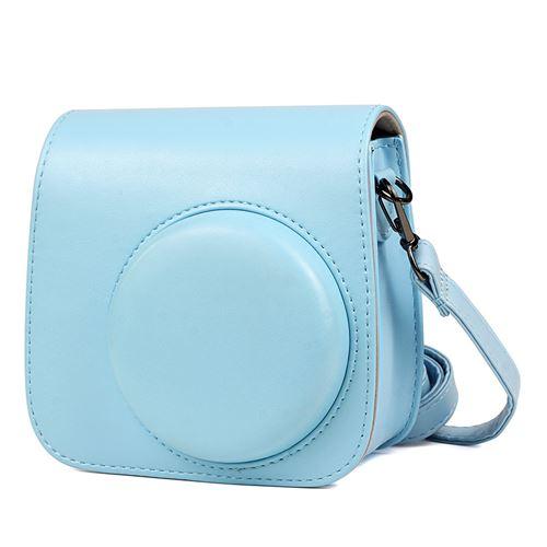 Étui en cuir PU antichoc pour Fujifilm Instax Mini 8 / 8+ / 9 - Bleu clair