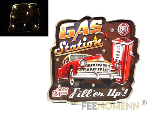 plaque métal lumineuse led - déco murale vintage - gas station service route 66 (40x40cm)