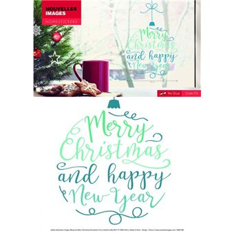 Joyeux Noel Et Nouvel An.Noel Sticker Adhesif Fenetres Autocollant Joyeux Noel Et Bonne Nouvelle Annee 32x23 Cm