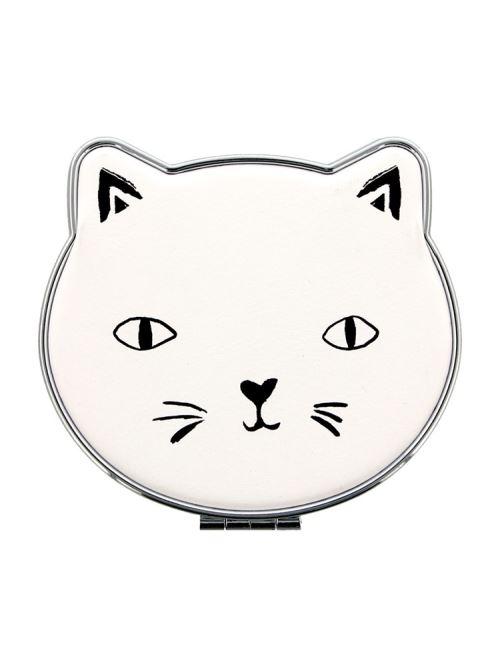 Miroir compact Cat Lady - Blanc 8 x 6,5 cm