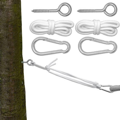 Kit pour Accrocher votre Hamac Kit complet incl Cordes Mousquetons Vis à Anneau Poids max. suppo