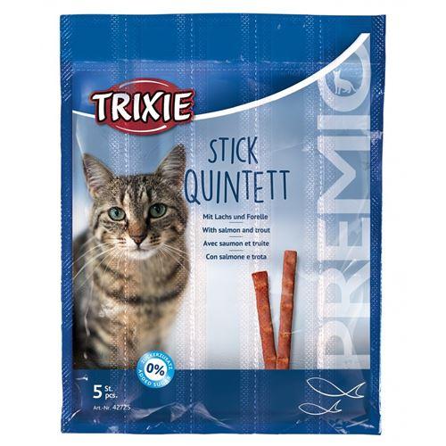 5 sticks friandise au saumon et truite pour chats.