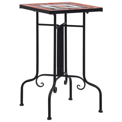 vidaXL Tables d'appoint mosaïque Terre cuite et blanc Céramique