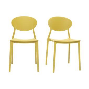 Lot De 2 Chaises Design Jaune Polypropylne Empilables ANNA