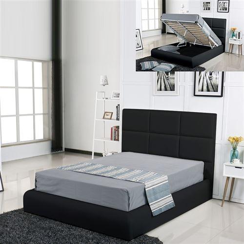 Lit coffre design Alves - Noir - 140x190