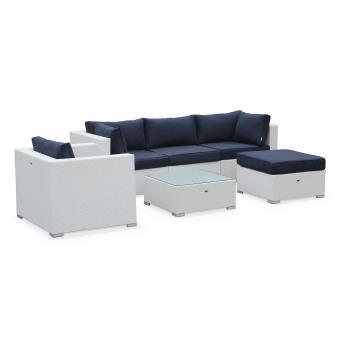 Salon de jardin table en résine tressée blanc 5 places Caligari canapé  fauteuil - Alice\'s Garden