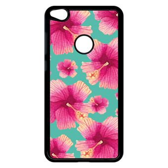 Coque Huawei P8 Lite 2017 Modèle 2017 Hibiscus Fond Turquoise