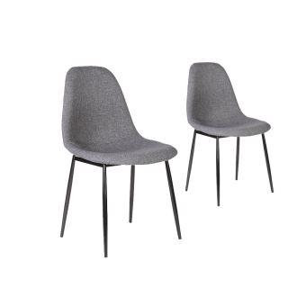 lot de 2 chaises scandinaves eli en tissu avec pieds mtal noir couleur gris fonc achat prix fnac - Pied De Chaise Scandinave