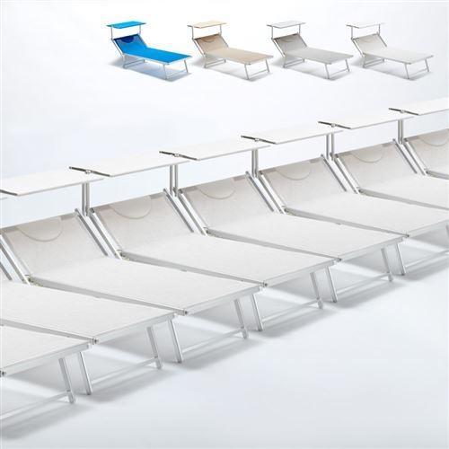 Beach and Garden Design - Bain de soleil transat taille maxi professionnels aluminium lits de plage GRANDE Italia Extralarge stock 20 pcs, Couleur: Blanc