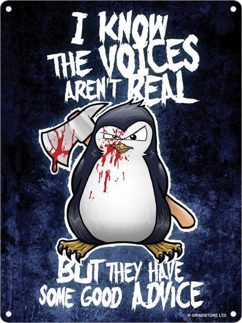 Plaque murale en métal Psycho Penguin The Voices Aren't Real 15 x 20cm