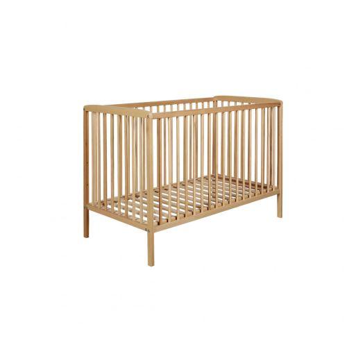 Lit bébé à barreaux 60x120 en bois naturel LT0002