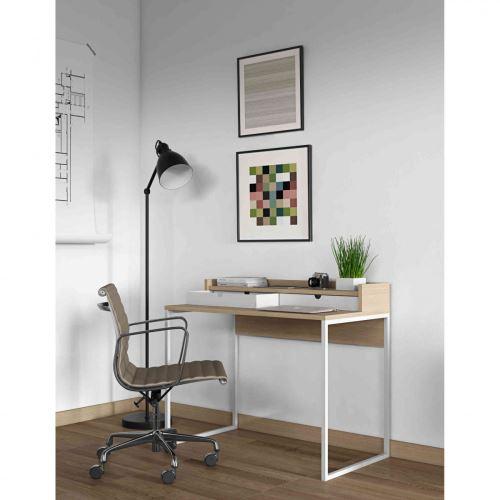 Bureau en bois imitation chêne et blanc - BU0010