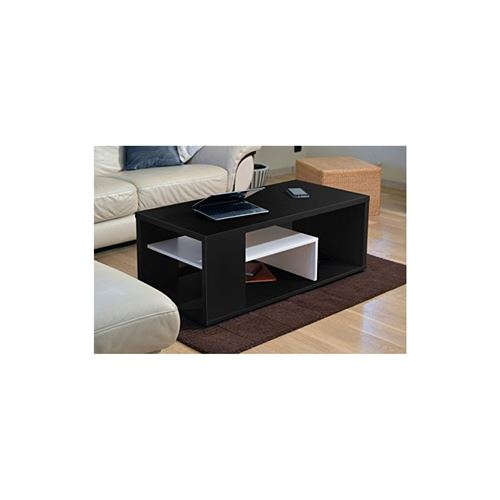 Table basse MELINA B. Meuble moderne et tendance coloris noir et blanc. Idéal pour votre salon. Fabrication française