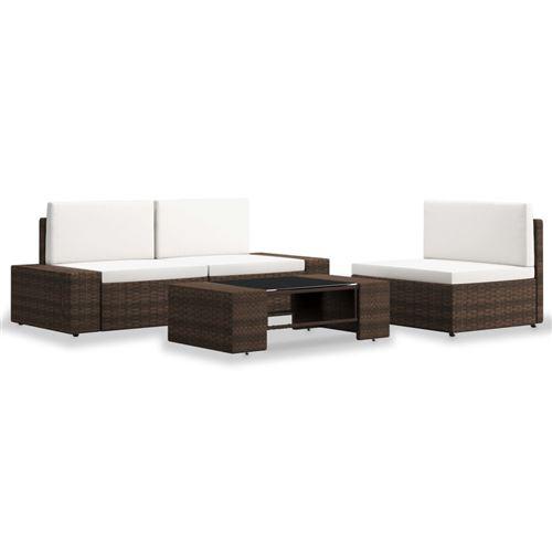 vidaXL Salon de jardin - 1 canapé + 1 fauteuil + 1 table basse - Résine tressée Marron