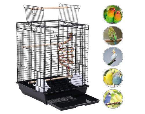 Cage à Oiseaux, Portable Ouverte avec Poignée - 40*40*58cm Noir