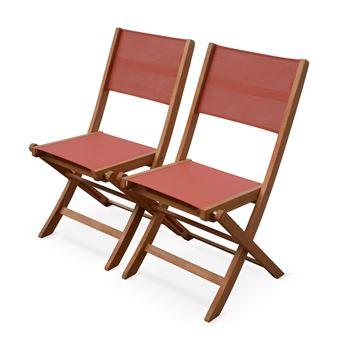 Lot de 2 chaises de jardin en bois Almeria, 2 chaises ...