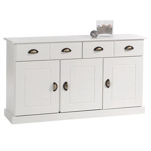 Buffet PARIS commode bahut vaisselier avec 3 portes battantes et 2 tiroirs pin massif lasuré blanc