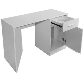 Vislone Bureau Avec Tiroir Et Placard 100 X 40 X 73 Cm Blanc