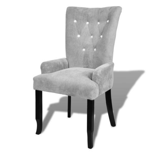 Fauteuil lounge salon salle à manger entrée chaise capitonnée gris