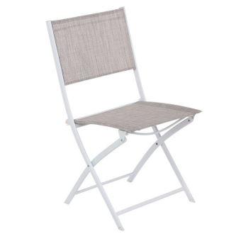 Chaise pliante Modula Hespéride taupe chiné / blanc