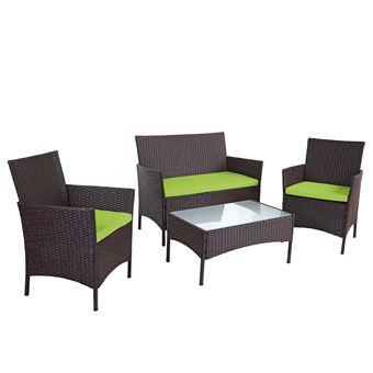 Ensemble de meubles de jardin Halden, poly-rotin ~ brun moucheté, coussins  verts