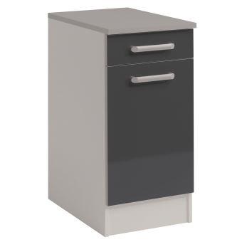 meuble bas 1 porte 1 tiroir l40xh86xp60cm gris brillant achat prix fnac