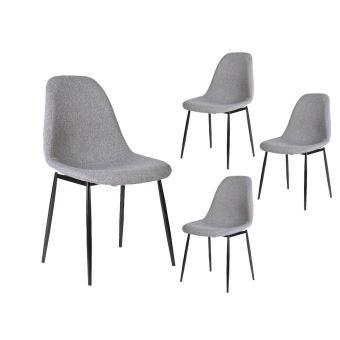 lot de 4 chaises scandinaves eli en tissu avec pieds mtal noir couleur gris clair achat prix fnac - Chaise Scandinave Pied Metal