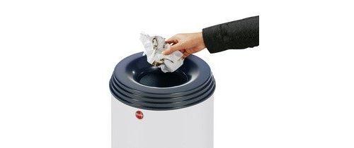 Hailo 0950?652 profiline safe flamme lösch ender corbeille à papier en tôle dacier, couvercle noir, 45 l, argent, xl