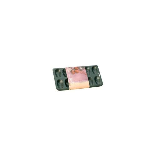 patisse plaque a madeleine antiadhésif en acier revetu - 12 cavités - 40x19 cm - noir