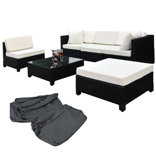 Salon de jardin rotin résine tressé synthétique noir + coussins + 2 sets de housses