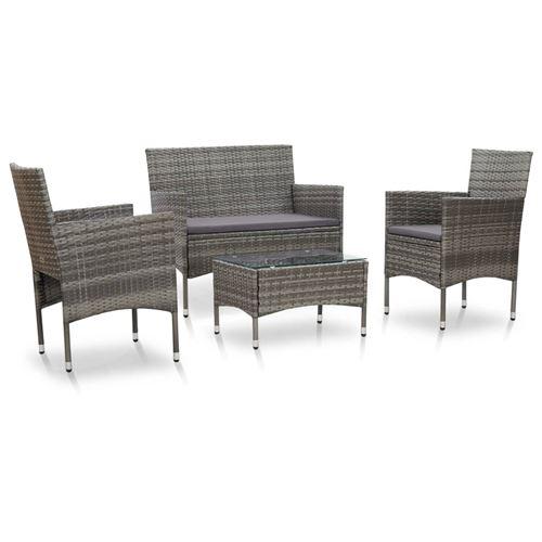 vidaXL Salon de jardin - 1 canapé + 2 chaises + 1 table basse - Résine tressée - Gris