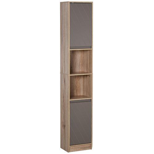Meuble colonne rangement salle de bain style cosy dim. 30L x 24l x 170H cm 2 portes étagère 2 niches chêne clair gris